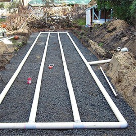 A conventional bed for wastewater disposal, southern Tasmania.
