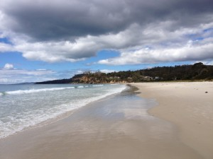 Looking south to the sandstone cliffs at Spring Beach, Tasmania.