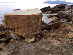 The recently fallen boulder. Southern end of Spring Beach.