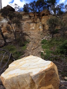 Source and pathway of the fallen boulder.