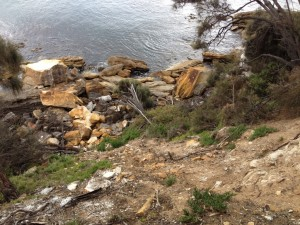 Looking down from the source to the fallen boulders. Southern end of Spring Beach.