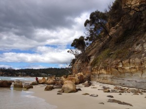 Another crop of fallen boulders. North end of Spring Beach, Tasmania.