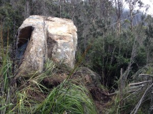 The 50 tonne dolerite boulder, at rest against other smaller boulders, on 9 July 2014.