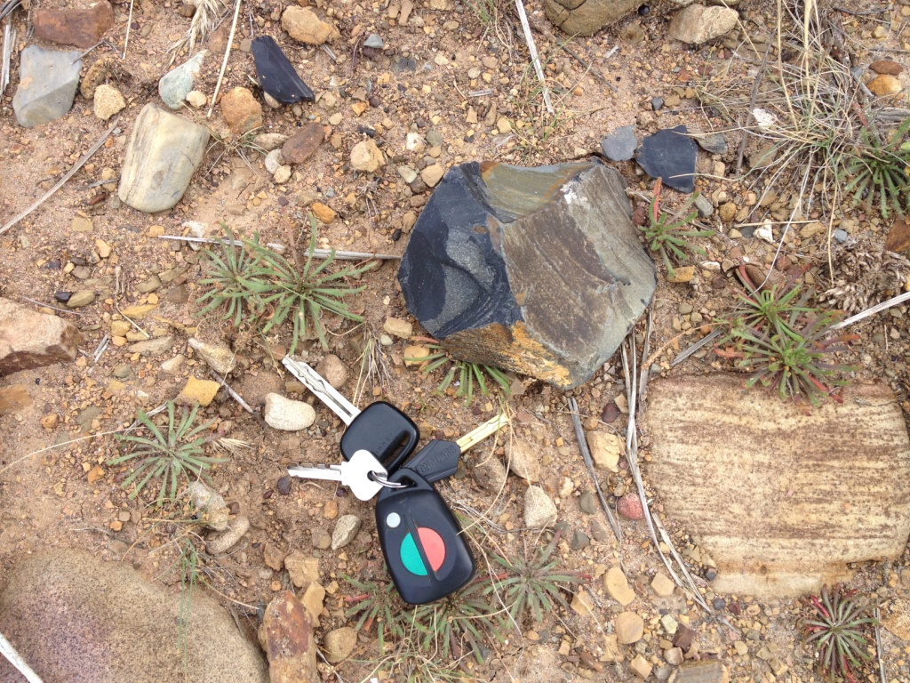 A discarded, moderately waterworn relic with scattered chips. A set of car keys has been used to show scale.