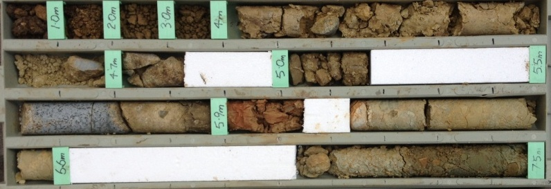Samples from each of the deposits found at different depths in the core from a drill hole in a Tertiary age boulder bed